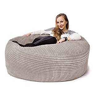 Lounge Pug® - CORD - Large Bean Bag For Adults - MAMMOTH - GIANT Beanbag UK - IVORY