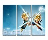 Keilrahmenbild auf Leinwand 3 teilig Gohan Dragonballs 3x90x40cm (Gesamt 120x90cm) Ausführung schöner Kunstdruck auf echter Leinwand als Wandbild auf Keilrahmen