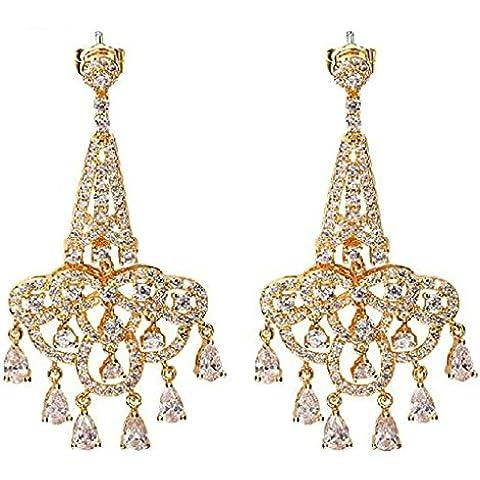 Orecchini Pendenti Donna Placcato Oro Soffitto Taglio Cubic Zirconia Cz Cristallo Di (22k Oro Cuore)