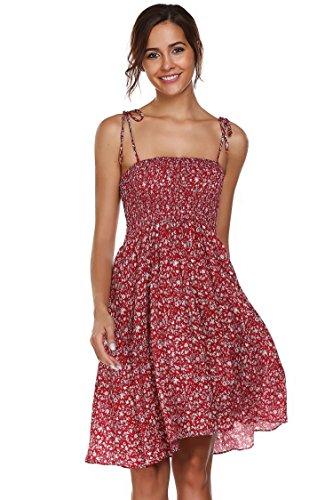 Meaneor Damen Ärmellos Spaghettiträger Kleid Baumwolle Blumenmuster Strandkleider für Sommer (Baumwolle Kleid Ärmelloses)