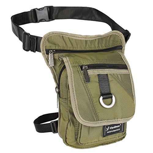 Vanlison waterproof Airsoft Tactical Drop Leg panel sella borsa,, donna, Lake Blue, M Army Green