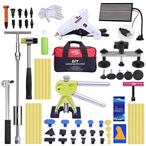 PDR Auto Body Dent Repair Werkzeug, Dent Abzieher 20Stück Set Dellenlifter Ausbeulwerkzeug mit Werkzeug Tasche -