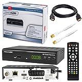 HB-DIGITAL SET: Micro electronic Microm22c HD Receiver für digitales DVB-C Kabelfernsehen (HDMI, SCART, USB 2.0, LAN, Mediaplayer) 22c + 7,5m HDTV Antennenkabel vergoldet mit Mantelstromfilter weiß + HDMI Kabel