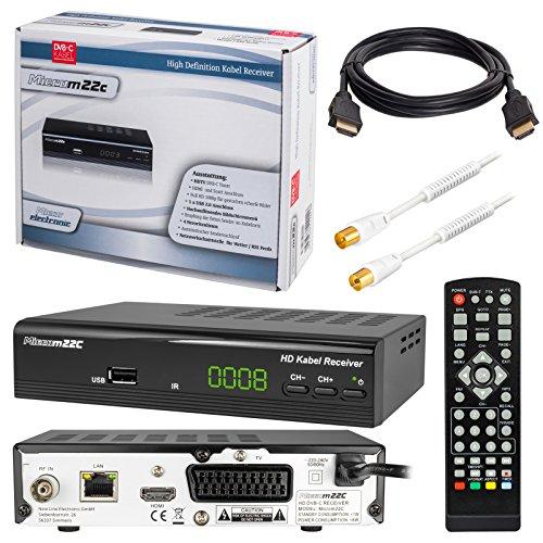HB-DIGITAL SET: Micro electronic Microm22c HD Receiver für digitales DVB-C Kabelfernsehen (HDMI, SCART, USB 2.0, LAN, Mediaplayer) 22c + 1m HDTV Antennenkabel vergoldet mit Mantelstromfilter weiß + HDMI Kabel