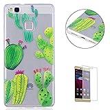 KaseHom Huawei P9 Lite TPU Hülle Durchsichtig (Mit Frei Displayschutzfolie) Karikatur Entwurf Kristall klar Kratzfest A