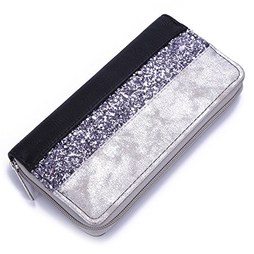 David Jones - Women's Glitter Strass Paillette Purse Card Zipper Wallet - Stripes Design Metallic Shiny Nubuck Suede Deer Faux Leather - Evening Clutch Bag Lady Girl Elegant Trendy Chic - Black Silver -