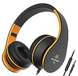 Sound Intone I68 faltbarer On-Ear Kopfhörer Headset, Lautstärkeregelung, Mikrofon und 3,5 mm Klinkestecker für PC/ Smart Phone/Ipad/ Ipod(Schwarz/Orange)