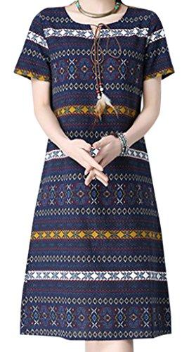 erdbeerloft - Damen Knielanges Kleid im Azteken Design, S-2XL, Viele Farben Dunkelblau