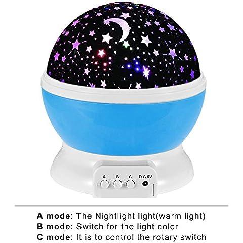 Vicloon 360 Grados de Rotación Cielo Estrella Noche Lámpara, 3 Modo Estrella Projector, para Niños, Bebés, Regalos de la Navidad
