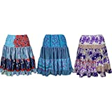 Womens Silk Skirt Full Flare Recycled Sari Tiered Boho Knee Length Skirts Lot Of 3 Set