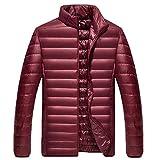 Xmiral Herren Jacke Mantel Winter Pure Color Faltbare Stehkragen Daunenjacke Overcoat (3XL,Wein)