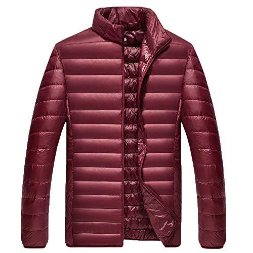 Xmiral Herren Jacke Mantel Winter Pure Color Faltbare Stehkragen Daunenjacke Overcoat (XXL,Wein)