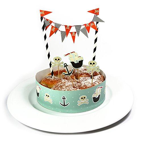 Frau Wundervoll Kuchen Deko Set - Pirat - / Kuchengirlande Geburtstag / Kuchenaufsatz / Tortengirlande