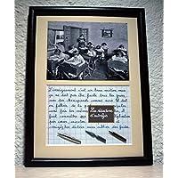 Tableau avec photo ancienne et texte sur le métier d'enseignant. Création artisanale Française. Idée cadeau original pour les enseignants