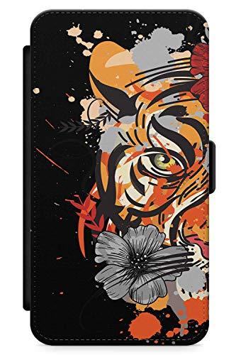 Tot Tiger Kostüm - iPhone X/XS, iPhone 10 Case Zuckerschädel-Tiger | Kunstleder Brieftasche Flip Card Slot Cover Kickstand | Tag Der Toten Dia De Muertos Mexikaner Kunst Kostüm