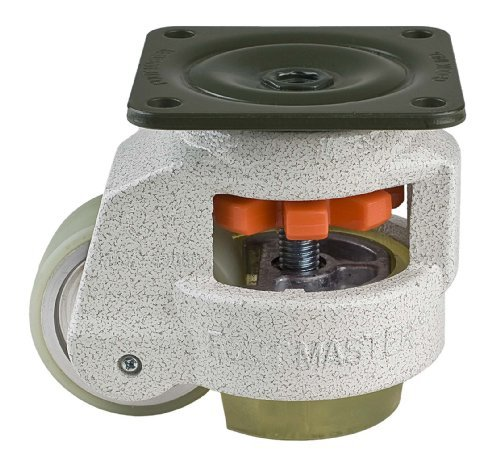 FOOTMASTER GD-80F-U Urethane Wheel and Pad Leveling Caster, 1100 lbs, Top Plate 3 17/32 x 3 17/32, Bolt Holes 2 3/4 x 2 3/4, Ivory Finish by FOOTMASTER (Top Plate Bolt)