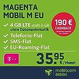 Telekom Magenta Mobil M EU Allnet Flat mit 4GB LTE Internet Flat max. 300 MBit/s, Telefonie- und SMS-Flat in alle dt. Netze, HotSpot-Flat, EU Flat, 24 Monate Laufzeit, monatlich nur 35,95 EUR statt 54,95 EUR + Cashback in Höhe von 190 EUR, Triple-Sim-Karten
