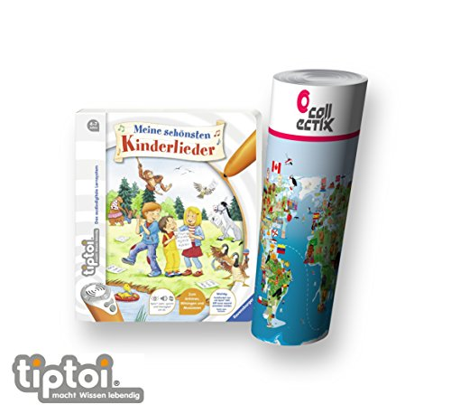 Ravensburger tiptoi ® Buch | Meine schönsten Kinderlieder + Kinder Weltkarte - Länder, Tiere, Kontinente