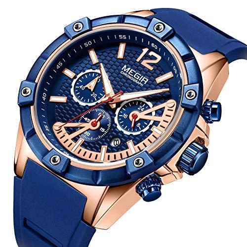 Orologi da Uomo Sportivo Impermeabile Orologio al Quarzo Analogicope Oro Blu Orologi da Polso Lusso Militare Cronografo