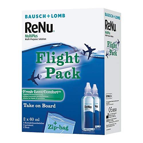 ReNu MultiPlus Pflegemittel für weiche Kontaktlinsen, Flight Pack, 2 x 60ml (120 ml)