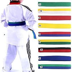 Lunji Ceinture pour Taekwondo karaté Judo 250cmx4cm 9 Couleurs (Rouge et Noir)