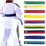 Lunji, cintura per taekwondo, karate, judo, 250cm x 4cm, 9colori, giallo, 250cmx4cm