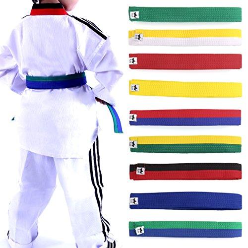Lunji Gürtel für Taekwondo Karate Judo, 250 cm x 4 cm, 9 Farben., Weiß/Gelb, 250cmx4cm -