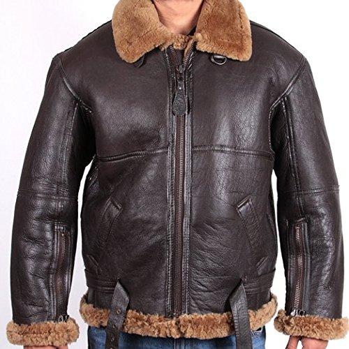 Brandslock Hommes aviateur en peau de mouton Veste en cuir Marron - Marron