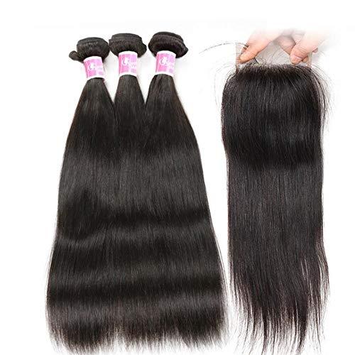 Nyrgyn Peruanische Bündel des geraden Haares mit Schließung Menschliches Haar 3 Bündel mit Schließung 4 * 4 Spitze-Schließung Nicht remy Haar-Spinnen, dreiteilig, 22 22 22 u. Closure20