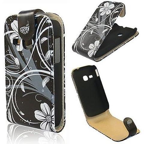 Semoss - Funda de piel con tapa para Samsung Galaxy Trend GT-S7560 / Galaxy S Duos S7562 (Con Negro