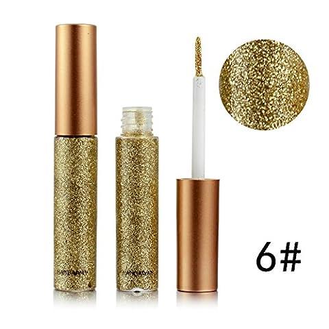 Weisy 10 Couleurs Eyeliner Shimmer Waterproof Brillant Argent Doré Multi-couleur Métalique Liquide Adaptable pour la