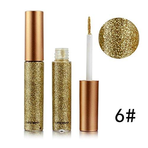 Gold-glitter Make-up (Weisy Eyeliner Glitzer Wasserdicht Schimmer Pigment Silber Gold Metallic Liquid Glitters Eyeliner 10 Farben)