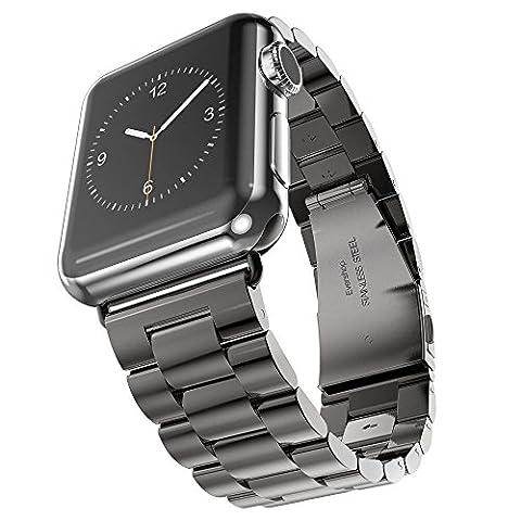 Evershop® Montre Sangle Bande en Acier Inoxydable 42 mm Sangle poignet montre fermoir en métal de rechange pour Apple, iwatch tous les modèles 42 mm noir Noir