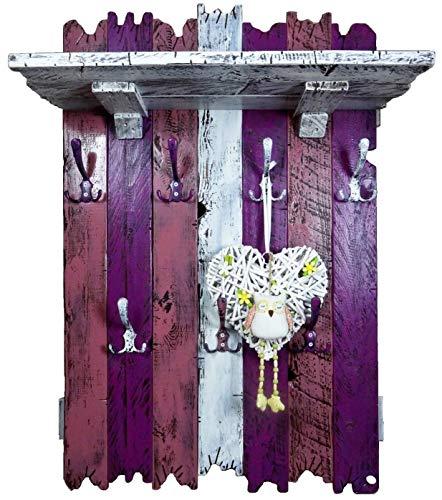 SHaBBy CHic ViNTaGe XXL Holz Garderobe mit 7x3 Metallhaken lila violett weiß (HXBXT: 115x7ox15 cm) aus Echtholz/Massivholz im used look rustikal Landhaus Stil (alternativ: Gaderobe, Gardrobe)