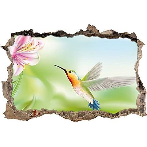 Bella Hummingbird con svolta a muro fiore in aspetto 3D, parete o in formato adesivo porta: 92x62cm, autoadesivi della parete, autoadesivo della parete, decorazione della parete