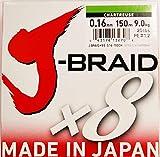Daiwa J-Braid 8 Braid 0.16mm, 9,0kg/20,0lbs, 150m chartreuse