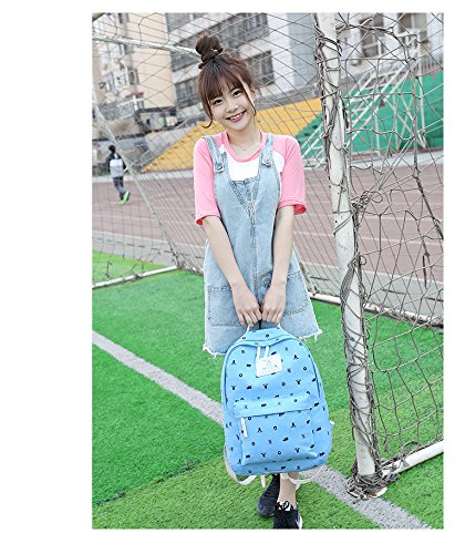 Minetom 4 Pezzi Clutch Bag Messenger Piccole Tasche Tela Borsa Zainetto Donna Spalla Zaini Scuola Superiore Zainetti Ragazze Cielo Blu