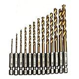 iLory 13 Stück HSS Metall Bohrer Spiralbohrer mit Sechskantschaft Satz 1.5 mm bis 6.5 mm