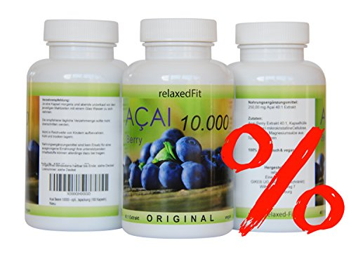 Acai Beere 10000mg - optimal dosiert 40:1 Konzentrat - Fitnessprodukt - Muskelaufbau & Diätunterstützung - Made in Germany (Monatspackung) (Acai-beere Diät-pillen)