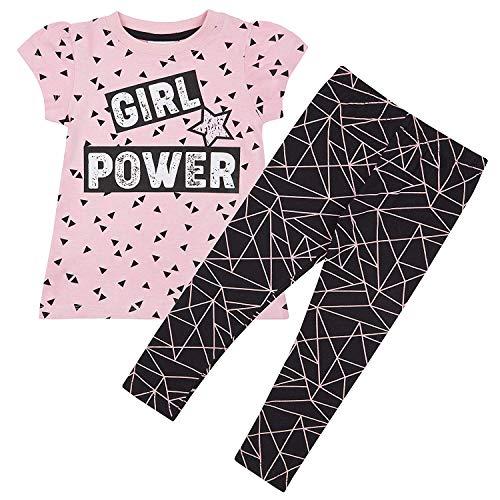 Mädchen Outfit Leggings eine Linie T-Shirt Kleid Top Mädchenpower Geometrisch Style - Rosa Schwarz, EU 104-110