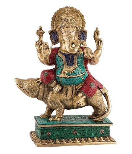 Ganesh Statue sitzend auf mouse- Hindu Ganesha Herr, Gott Elefant Idol türkis NEU (Türkis Elefanten-statue)