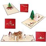 Ohuhu® 3D POP UP schöne Pop-up Kunst - 1 Weihnachtsbaum, 1 Schneemann und 1 Haus mit Weihnachtsschlitten