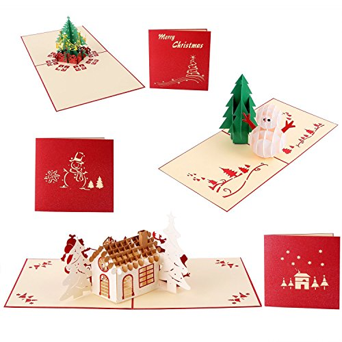 Ohuhu® 3pezzi carta natale biglietto d'auguri 3d regalo christmas greeting card taglio laser pop-up albero natale