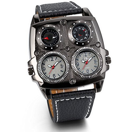 JewelryWe Reloj Militar Deportivo de Hombres Chicos, Tiempo Dural Grande Reloj de Piloto Punky, Brújula...