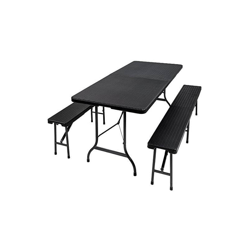 TecTake Folding Dining Trestle Table and Bench Outdoor Camping Furniture Set (Black   no. 402209)