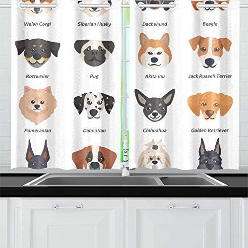 JINCAII Reinrassige Hunde Gesichter Icon Set walisische Küche Vorhänge Fenster Vorhang Ebenen für Café, Bad, Wäsche, Wohnzimmer Schlafzimmer 26 X 39 Zoll 2 Stück -