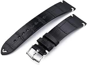 Cinturino per orologio in alligatore Strapcode 20mm, 21mm o 22mm MiLTAT Scala quadrata in vero alligatore americano, cinturino nero semi opaco