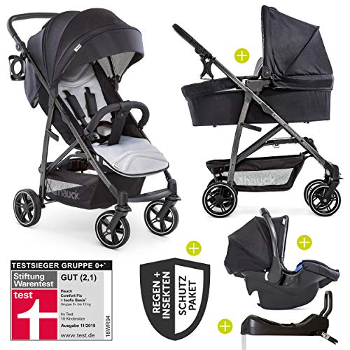 Hauck 11-teiliges Kinderwagen Set 3in1 - Rapid 4S Plus Trio Set - inkl. Babyschale & Isofix-Basis fürs Auto + Zubehörpaket/Kombikinderwagen ab Geburt bis ca. 25 kg - Caviar Silver
