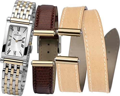 Michel Herbelin Antares Interchangeable Women's Quartz Watch with Silver Dial Analogue Display and Two Tone Stainless Steel Plated Bracelet COF17448/BT01MB