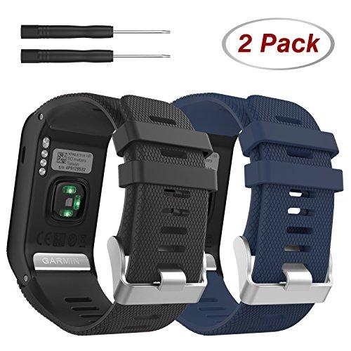 MoKo Ersatzarmbänder für Garmin Vivoactive HR, [2 Pack] Weiches Silikon Ersatz Band Uhrenarmband für Garmin Vivoactive HR Sports GPS Smart Watch mit Adapter Werkzeug, Schwarz & Marineblau -